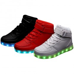 High Top Velcro Remote Control Flashing Walking Sneakers For Kids