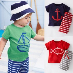 2017 Summer Boys Kleider Sets Kinder Kleider Kurzarm Cartoon T-Shirt + Striped Pant Boys Bekleidung Set Cf101