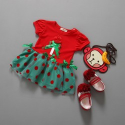 Fast delivery low price children dress princess dress children's short-sleeved Christmas Christmas Christmas dress skirt lotus leaf girls