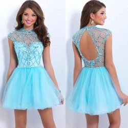 Low price of high-end hand-tailored prom dresses short style European market and the US market fresh fashion dress