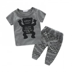 Fast delivery low price Kids Boys short-sleeved cotton trousers boy small monster pattern Set Promotion
