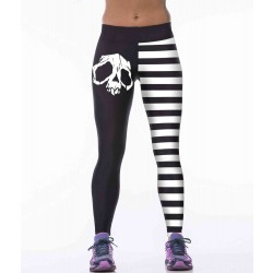 Europe and the US sales market hot new style personality skull print tight hip yoga pants high elastic leggings Ms.