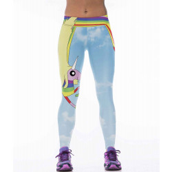 European market and the US market a new cartoon style rainbow stars pattern digital prints tight yoga pants fitness treadmill training pants Ms.