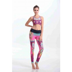 Hot sales colorful stripes Seiko digital printing flexible yoga clothes sports and fitness pants suit jacket