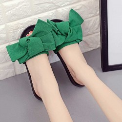 Flower decoration big bow style ladies flat sandals and slippers beach drag word shape sweet lady slippers Promotions