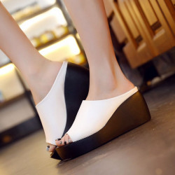 The new summer sandals and slippers female Shixia models wedge heel sandals thick high-heeled sandals word shape Promotions