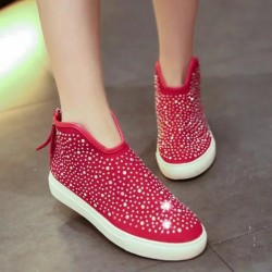 Autumn new models casual shoes flat shoes high shoes in Europe and the US market, British-style high-heeled flat shoes stylish interior decoration stones