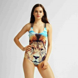 Brand digital printing pattern backless blue lion high elastic suspenders swimsuit swimsuit Island