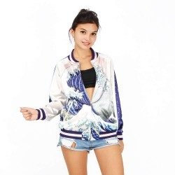 Dongkuan spray digital prints fashion baseball uniform zipper jacket Europe and the United States womens discount market