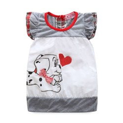 Cute animal pattern girls bow short-sleeved dress quality fast shipping hot selling hot summer