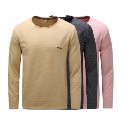 Classic Round Neck Sweatshirt Thick Long Sleeve Soft T-Shirt For Men