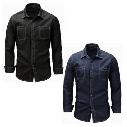 Denim Casual Dress Solid Color Button Down Shirt for Men