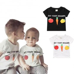 Baby Boy Girls T-shirts Vegetables Pattern Black White Tops