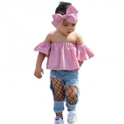 Baby Girl Pink Bowknot Hairband Off shoulder T-shirts Denim jeans Sets