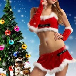 Frauen Weihnachten Santa Dress Red Velvet Outfits