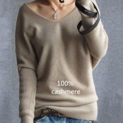 2017 Frühling Herbst Kaschmir Pullover Frauen Mode sexy V-Ausschnitt Pullover lose 100% Wolle Pullover Batwing Sleeve Plus Size Pullover