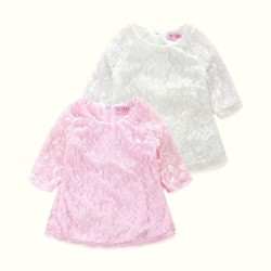 Fast delivery low price children's clothing girls cotton openwork lace dress girls skirt discount