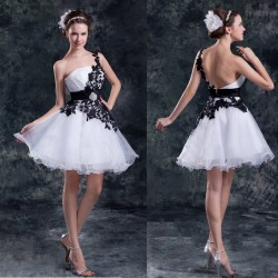 Summer lovely princess bride dress short style portrait side of the shoulder dress dress Slim