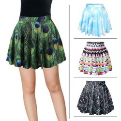 All models matching slim skirt Star patterned fashion princess skirt digital printing peacock folded skirt waist skirts