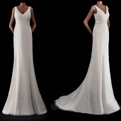 Discount low price of high-end wedding dress handmade custom wedding Europe and the United States on both sides of the small shoulder chiffon bridal market