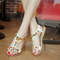 New models of modern sandals beaded flat shoes decorated large size ladies shoes low price discount fast delivery