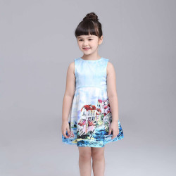 Fast delivery low price children's clothing girls lined cotton summer paragraph sleeveless vest dress promotional landscape design