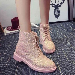 16 daily round white lace autumn new models to help low flat pink lace boots Miss Ma Dingxue