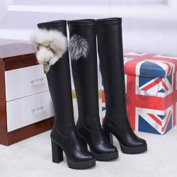 Cotton stretch stovepipe boots over the knee boots autumn and winter high-heeled boots with non-slip rough thick heel ladies boots