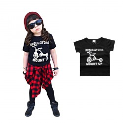 Baby Boy Black T-shirts Unisex Tops Clothes Bicycle Pattern Outfits