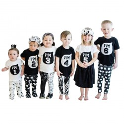 Baby Boys Girls 1-6 numbers Printed T-shirts White Black Tops