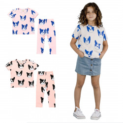 Boy Girls Sets T-shirts Outfits Dogs Pattern Pants Clothes